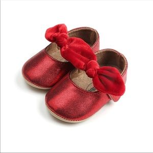 Baby Girl Sparkly Red Bow Velcro Strap Shoes